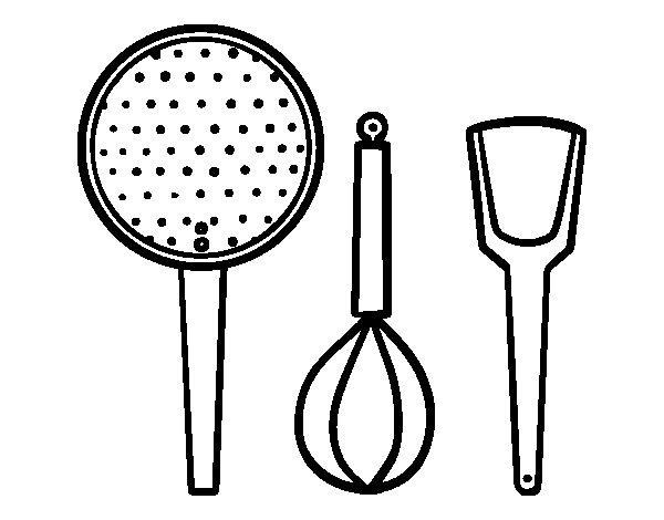 Disegno di utensili cucina da colorare - Colorare piastrelle cucina ...