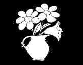 Disegno di Vaso con margherite da colorare
