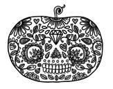 Disegno di Zucca del Giorno dei morti + da colorare