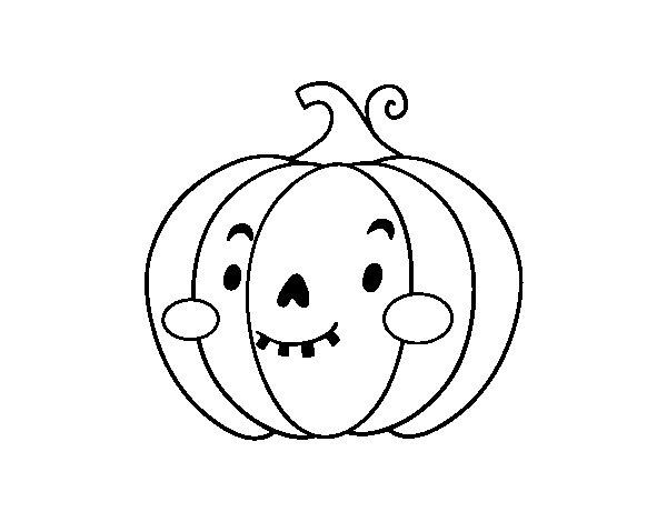 Zucca Halloween Da Colorare: Disegno Di Zucca Di Halloween Simpatico Da Colorare