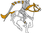 Disegno Cavaliere a cavallo IV pitturato su ale