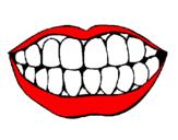 Disegno Bocca e denti  pitturato su marco costa