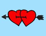 Disegno Due cuori con una freccia pitturato su adi kiara