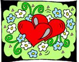 Disegno Cuori e fiori  pitturato su ALESSIA VALENTINO