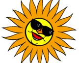 Disegno Sole con gli occhiali da sole pitturato su sole