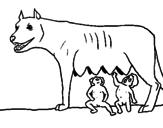 Disegno Romolo e Remo con la lupa pitturato su Lupa roma
