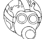 Disegno Terra con maschera anti-gas  pitturato su smog