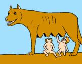 Disegno Romolo e Remo con la lupa pitturato su laura