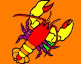 Disegno Aragosta  pitturato su rossella