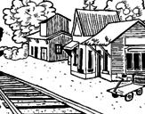 Disegno Stazione ferroviaria  pitturato su treno in stazione