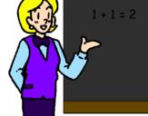 Disegno Professoressa di matematica  pitturato su maestra