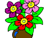 Disegno Vaso di fiori  pitturato su guinipu