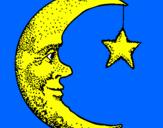 Disegno Luna e stelle  pitturato su luna pensierosa