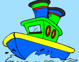 Disegno Barca sul mare  pitturato su edison