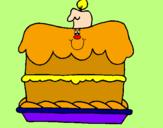 Disegno Torta di compleanno  pitturato su agata