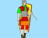 Disegno Soldato romano  pitturato su ROSSO