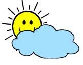 Disegno Sole con nuvola  pitturato su sole tra le nuvole
