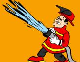 Disegno Pompiere con idrante  pitturato su Emma