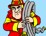 Disegno Pompiere  pitturato su Emma