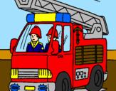 Disegno Camion dei Pompieri  pitturato su antonio