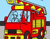 Disegno Camion dei Pompieri  pitturato su Emma