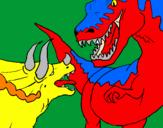Disegno Lotta di dinosauri  pitturato su t-rex vs triceratopo