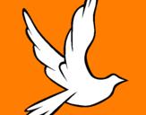 Disegno Colomba della pace in volo pitturato su alice