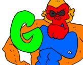 Disegno Gorilla  pitturato su MMATILDE SILVATILDE SILVA