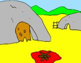 Disegno Villaggio  pitturato su ambra