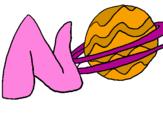 Disegno Nettuno  pitturato su nicole