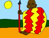 Disegno Capo angolano  pitturato su frotiz