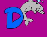 Disegno Delfino  pitturato su edoardo