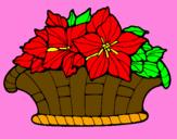 Disegno Paniere di fiori 8 pitturato su deva