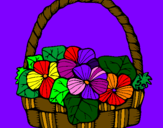Disegno Paniere di fiori 6 pitturato su nicole