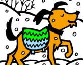 Disegno Cane  pitturato su deva