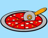 Disegno Pizza pitturato su bea e manu