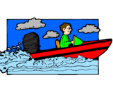Disegno Acquatico barca pitturato su giulia