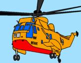 Disegno Elicottero di salvataggio  pitturato su francesco