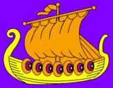 Disegno Barca vikinga  pitturato su Elena