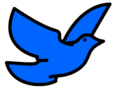 Disegno Colomba della pace  pitturato su sofia