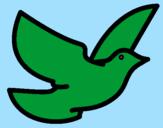 Disegno Colomba della pace  pitturato su ele