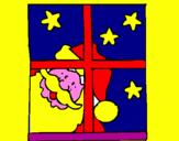 Disegno Babbo Natale pitturato su desirée