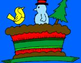 Disegno Torta con pupazzi  pitturato su marta