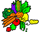 Disegno verdure  pitturato su silvia e