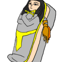 Disegno Mummia pitturato su raisa