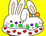 Disegno Conigli innamorati pitturato su luna