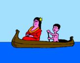 Disegno Madre e figlio in canoa  pitturato su gioele