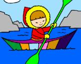 Disegno Canoa eschimese  pitturato su giulia