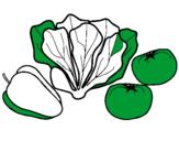 Disegno Verdure pitturato su alice