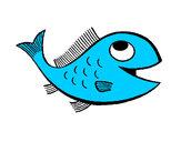 Disegno Pesce  pitturato su marty